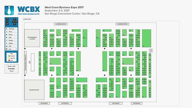 Booth management interactive floor maps exhibitor for Interactive floor plan map